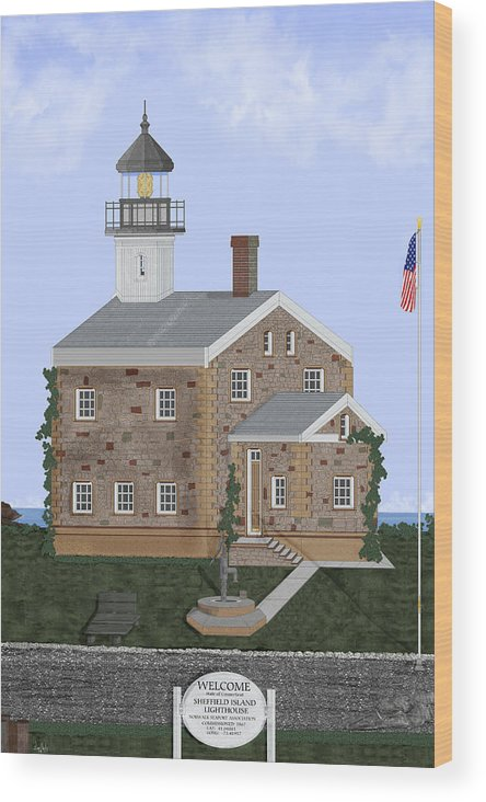 Lighthouse Wood Print featuring the painting Sheffield Island Lighthouse Connecticut by Anne Norskog