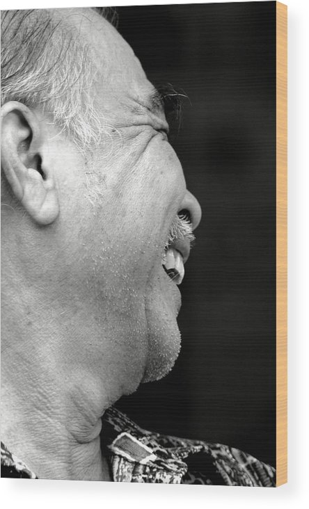 Portrait. Old Man Wood Print featuring the photograph Shy by Mark Mah