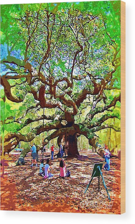 Wood Print featuring the photograph Sitting Under The Live Oaks by Donna Bentley