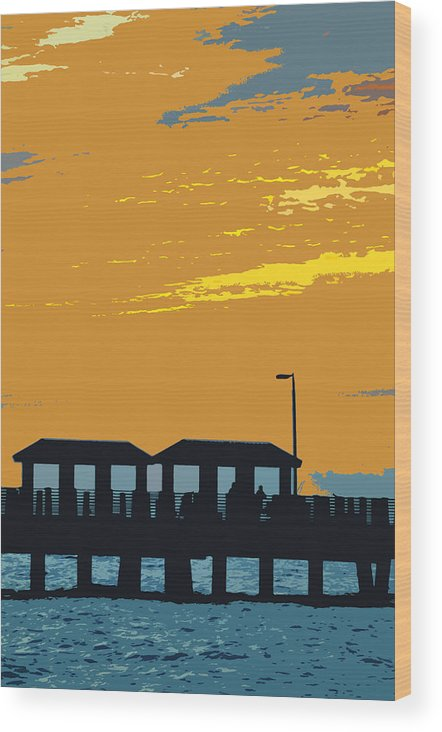 Fishing Pier Wood Print featuring the painting Sky And Pier by David Lee Thompson