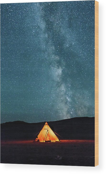 Altai Wood Print featuring the photograph Sleeping Under The Stars by Emily M Wilson