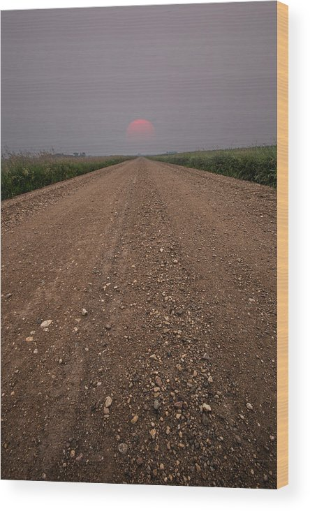 Sunset Wood Print featuring the photograph Smokey Road To Nowhere by Aaron J Groen