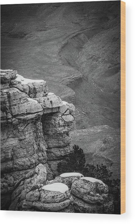 Landscapes Wood Print featuring the photograph Snow Capped Cliffs by Julie Thurgood