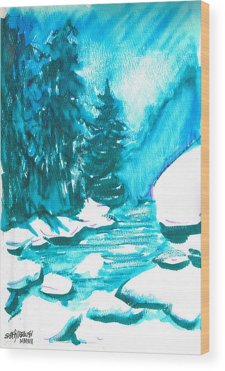 Chilling Wood Print featuring the mixed media Snowy Creek Banks by Seth Weaver