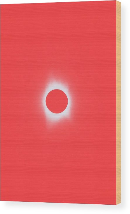 Sun Wood Print featuring the painting Solar Eclipse, Saros Cycle In Red Candy Color by Celestial Images