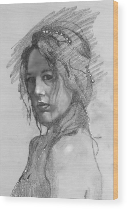 Portrait Wood Print featuring the drawing Sophia by Robert Bissett