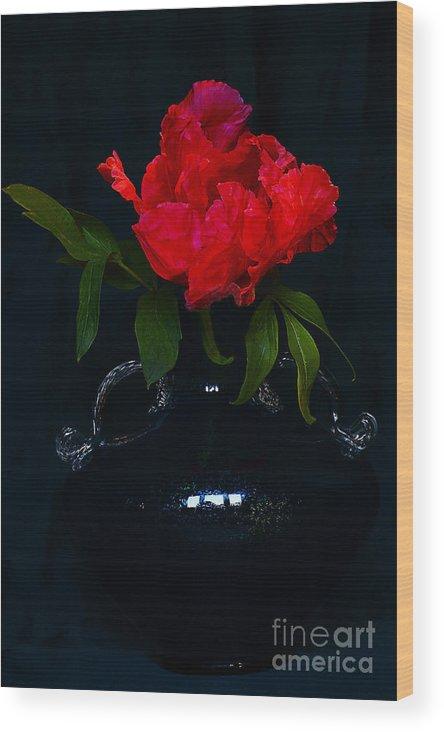 Peony Wood Print featuring the photograph Splendid Peony In Vase. by Alexander Vinogradov