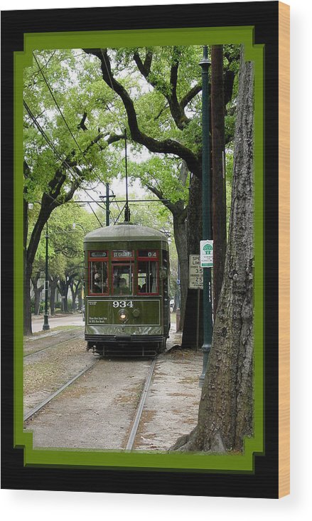 New Orleans Wood Print featuring the photograph St. Charles Street Car by Linda Kish
