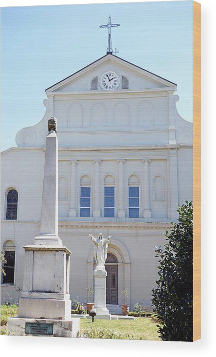 St. Louis Cathedral Wood Print featuring the photograph St. Louis Cathedral Back Lawn by Robert Meyers-Lussier