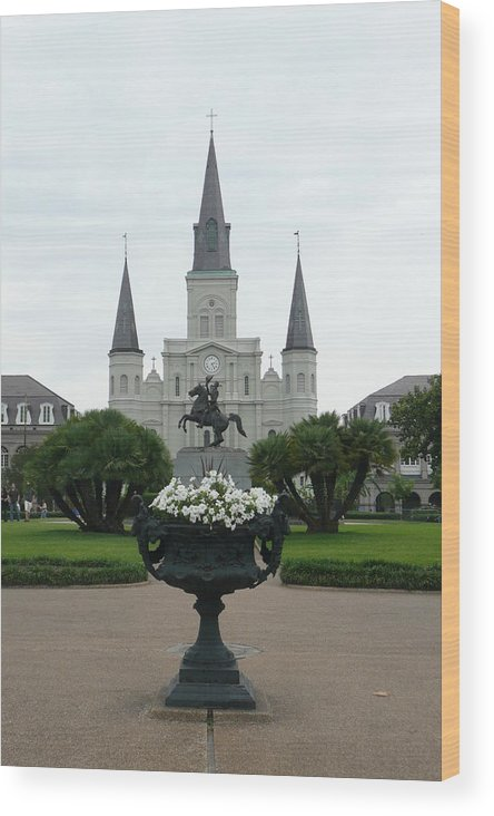 New Orleans Wood Print featuring the photograph St. Louis Cathedral New Orleans by Kathy Schumann
