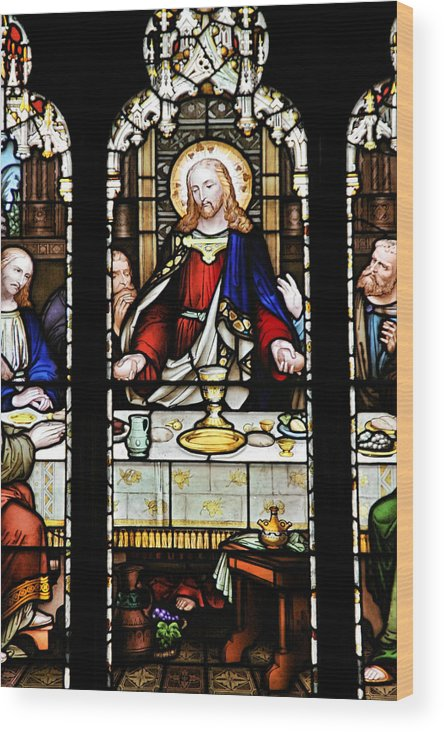 Stained Wood Print featuring the photograph Stained Glass Window Last Supper Saint Giles Cathedral Edinburgh Scotland by Christine Till
