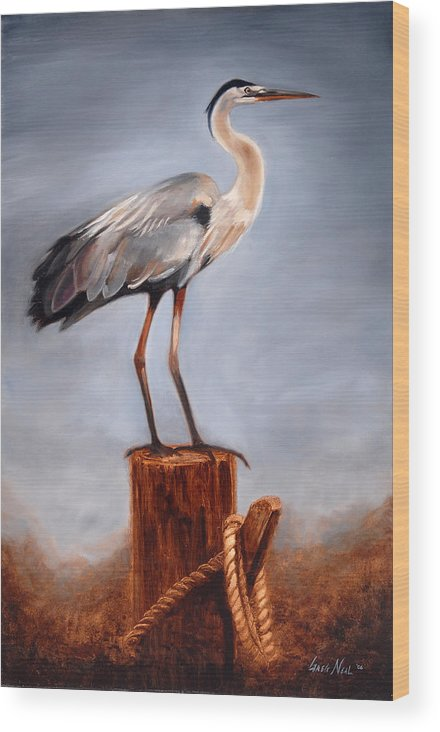 Heron Wood Print featuring the painting Standing Watch by Greg Neal