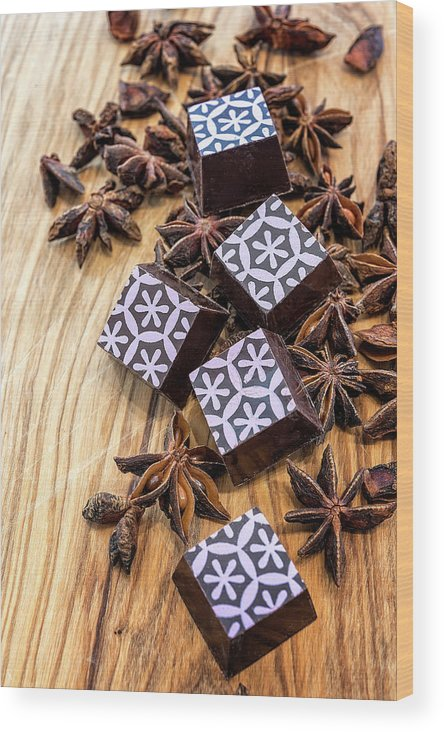 Chocolate Wood Print featuring the photograph Star Anise Chocolate by Sabine Edrissi