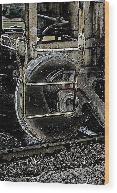 Train Wood Print featuring the photograph Steel Wheel by Alan Skonieczny