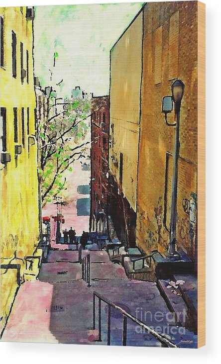 Step Wood Print featuring the mixed media Steps At 187 Street by Sarah Loft