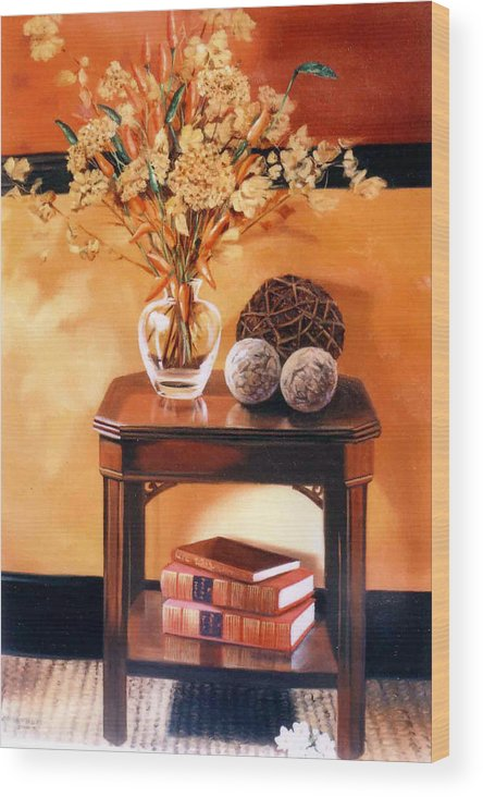 Still Life Wood Print featuring the painting Still Life by Chonkhet Phanwichien