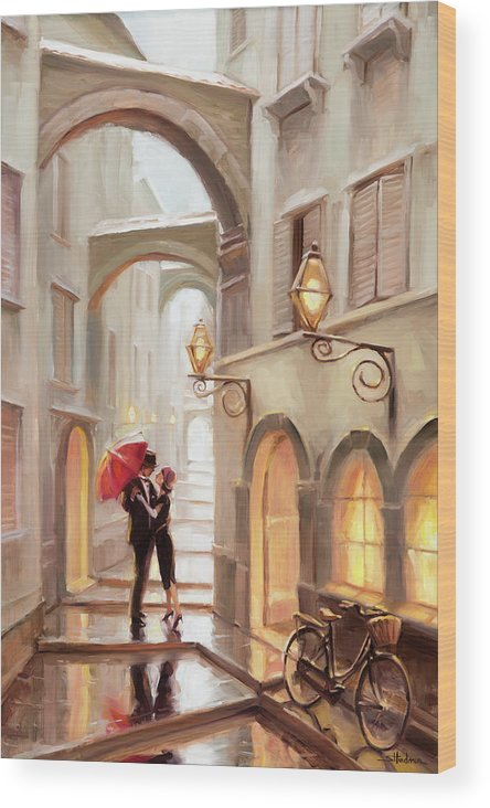 Love Wood Print featuring the painting Stolen Kiss by Steve Henderson