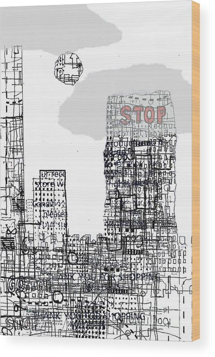 City Wood Print featuring the digital art Stop II by Andy Mercer