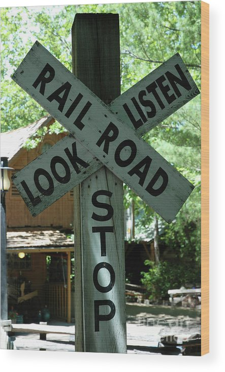Trains Wood Print featuring the photograph Stop, Look, Listen by Kathy Carlson