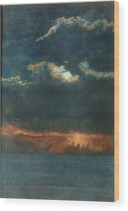 Landscape Wood Print featuring the painting Storm Brewing by Lynn ACourt