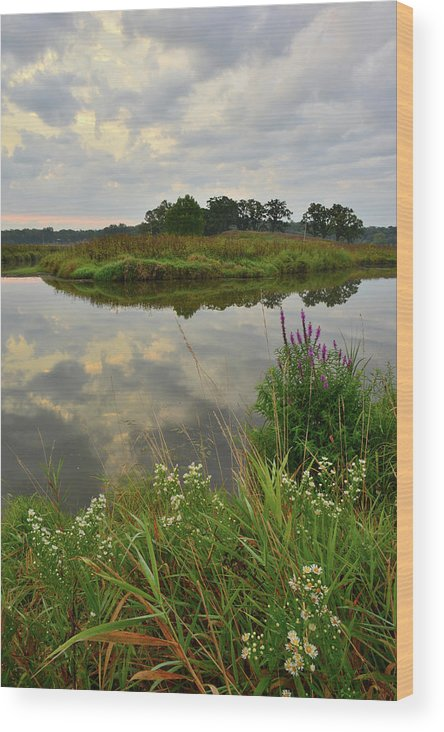 Glacial Park Wood Print featuring the photograph Storm Clouds Reflect In The Nippersink by Ray Mathis