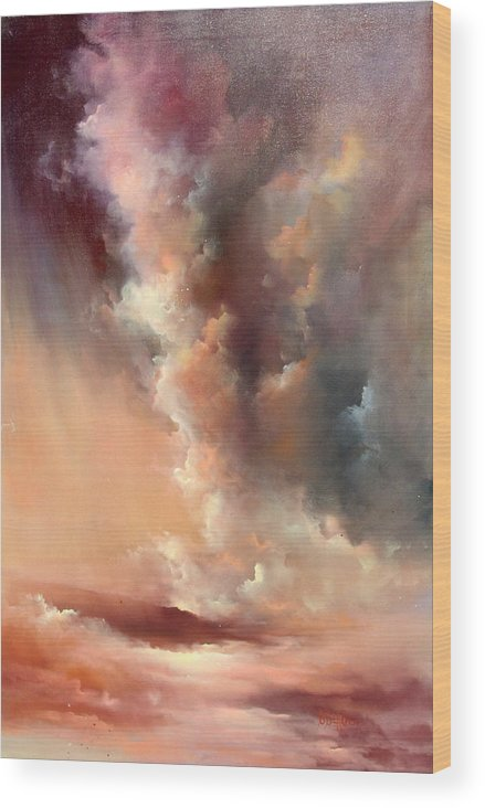 Clouds Wood Print featuring the painting Storm Clouds Rising by Sally Seago
