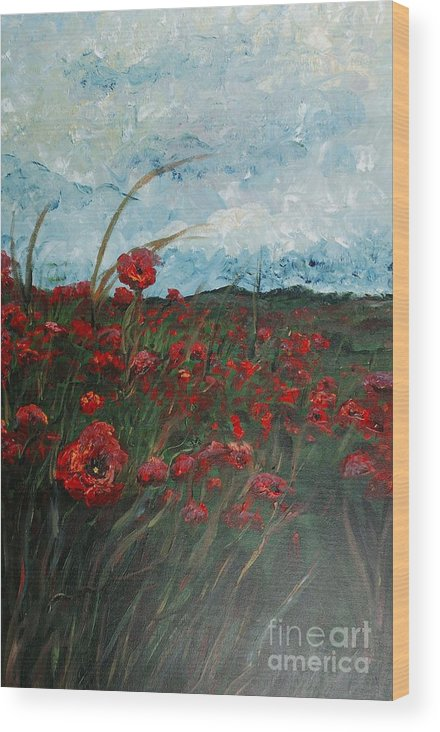 Poppies Wood Print featuring the painting Stormy Poppies by Nadine Rippelmeyer