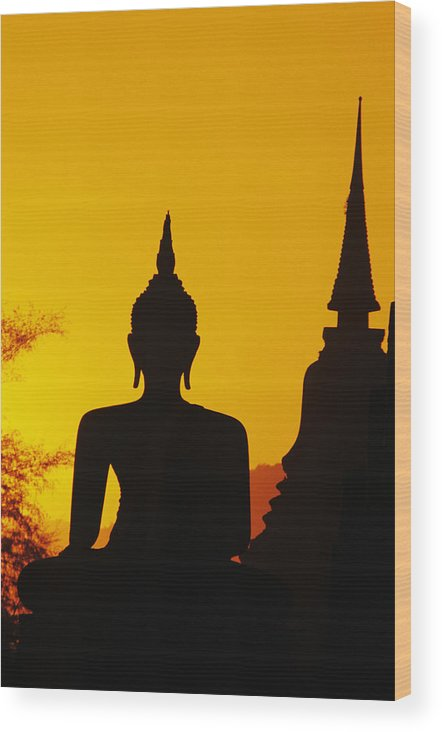 Ancient Wood Print featuring the photograph Sukhothai Temple by Gloria & Richard Maschmeyer - Printscapes