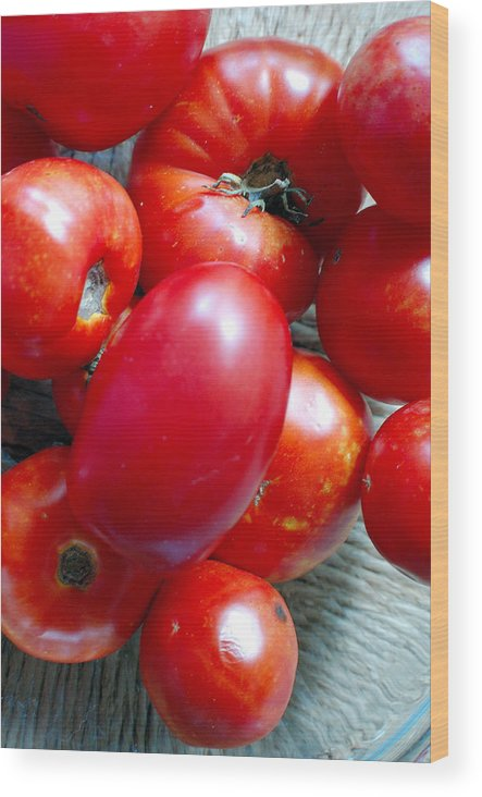 Photography Wood Print featuring the photograph Summer Tomatoes by Heather S Huston