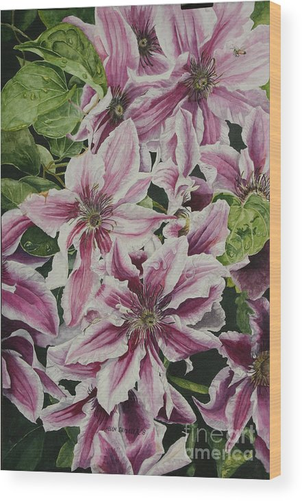 Flowers Wood Print featuring the painting Summertime Finery by Helen Shideler