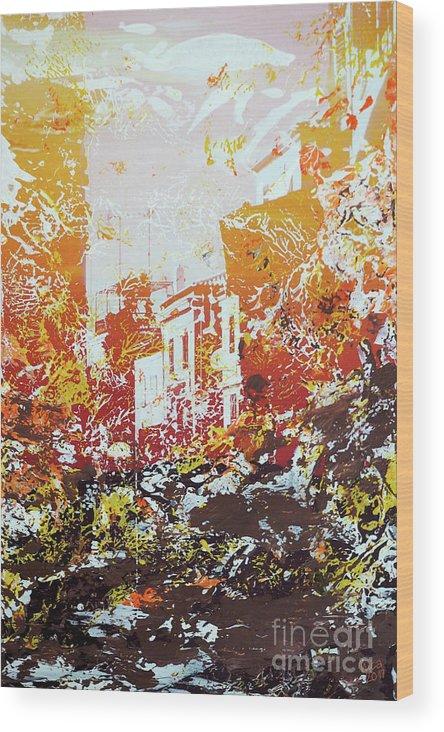 Sundown Wood Print featuring the mixed media Sundown Abstraction 2 by Nica Art Studio