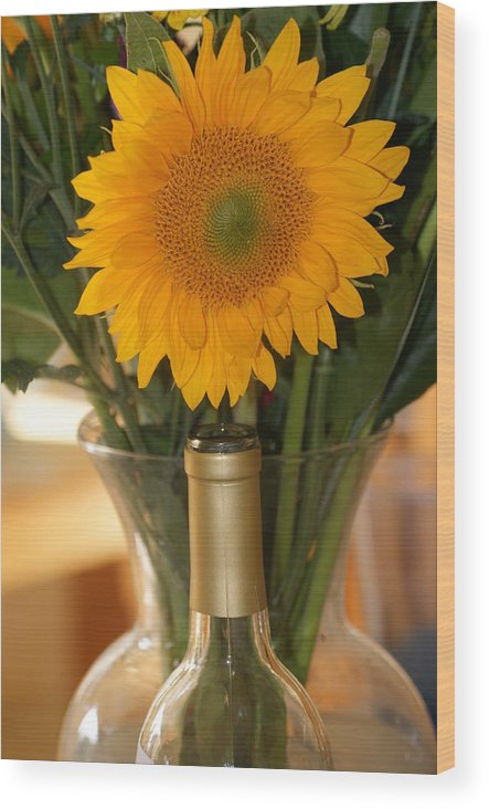 Sunflower Wood Print featuring the photograph Sunflower In A Bottle Or Is It Vase. by Liz Vernand