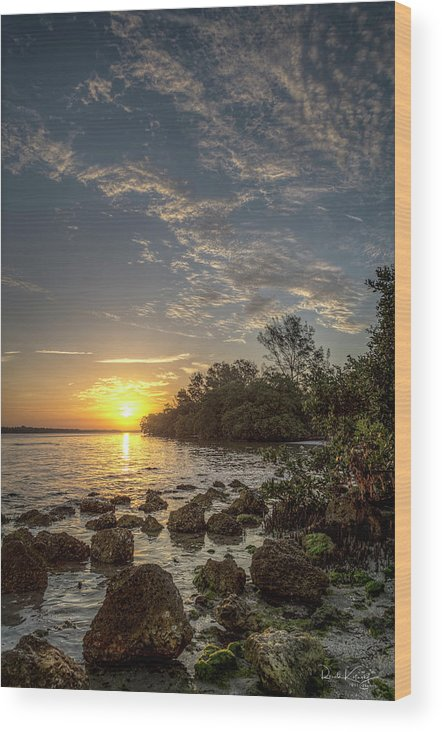 Sunrise Wood Print featuring the photograph Sunrise At The Sunshine Skyway by Ronald Kotinsky