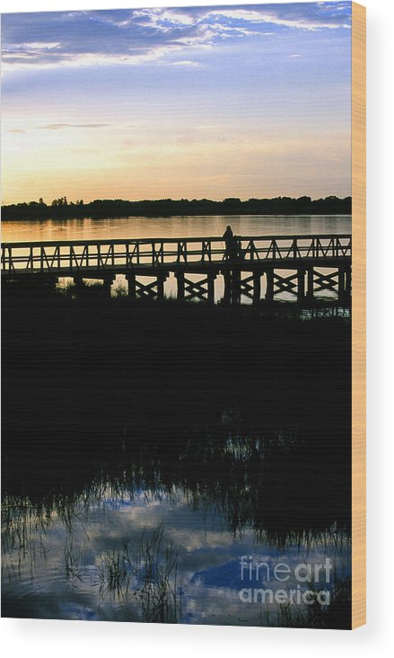Clermont Wood Print featuring the photograph Sunset At Lake Mineola In Clermont Florida by William Kuta