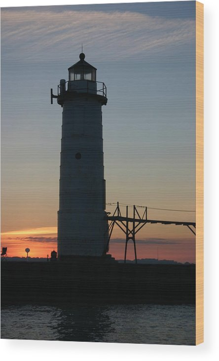 Light House Wood Print featuring the photograph Sunset Light House by Kevin Dunham