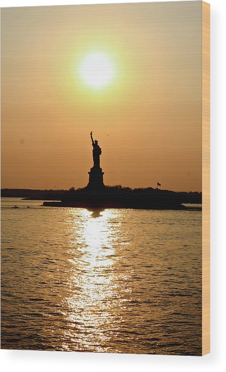 Statue Of Liberty Wood Print featuring the photograph Sunset On Lady Liberty by Christine Redmond