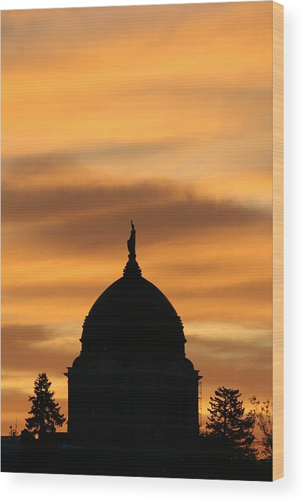Montana Wood Print featuring the photograph Sunset Over The Montana Capital by Rob Hoffman