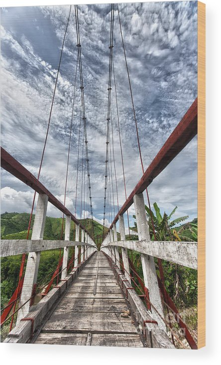 Asia Wood Print featuring the photograph Suspended Bridge by MotHaiBaPhoto Prints