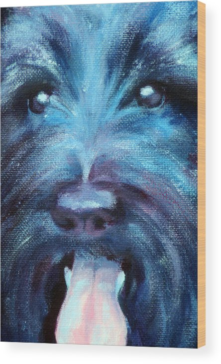 Dog Wood Print featuring the painting Suzie by Fiona Jack