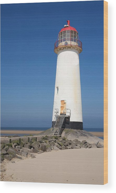 Lighthouse Wood Print featuring the photograph Talacre Lighthouse And Beach. by Christopher Rowlands