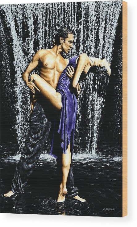 Tango Wood Print featuring the painting Tango Cascade by Richard Young