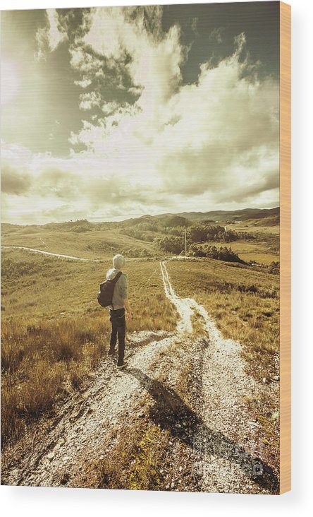 Backpack Wood Print featuring the photograph Tasmanian Man On Road In Nature Reserve by Jorgo Photography - Wall Art Gallery