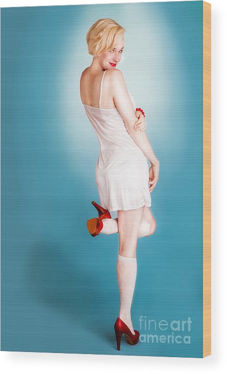 Pin-up Wood Print featuring the photograph Tease by Alex Kotlik