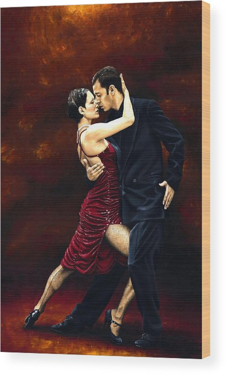 Tango Wood Print featuring the painting That Tango Moment by Richard Young