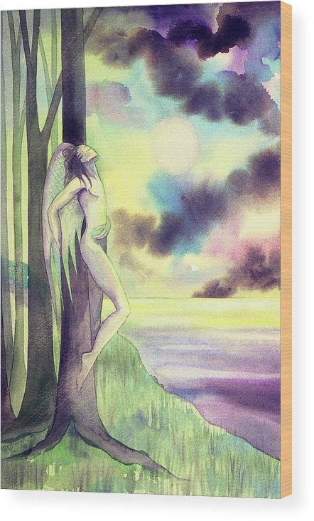 Angel Forest Trees Moonlight Clouds Sea Dawn Spiritual Wood Print featuring the painting The Angel's Bliss by Jennifer Baird