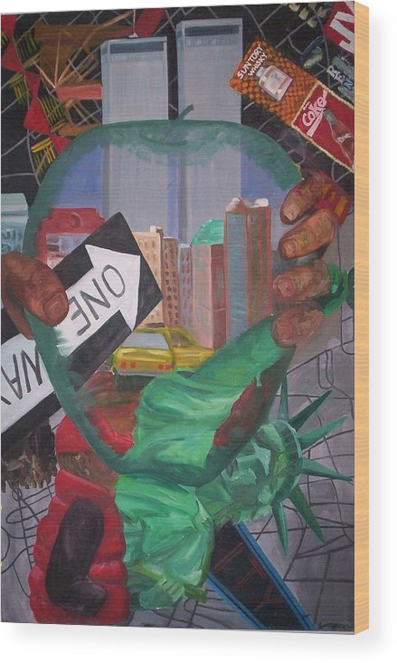 New York Wood Print featuring the painting The Big Apple by Lauren Luna