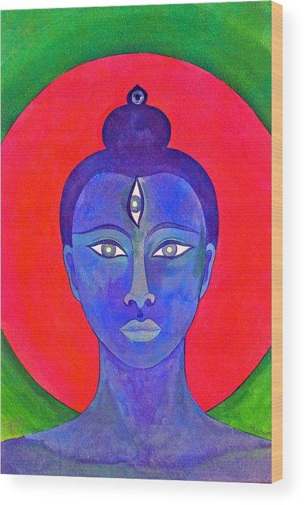 Head Of Meditation Buddha Wood Print featuring the painting The Blue Buddha by Jennifer Baird