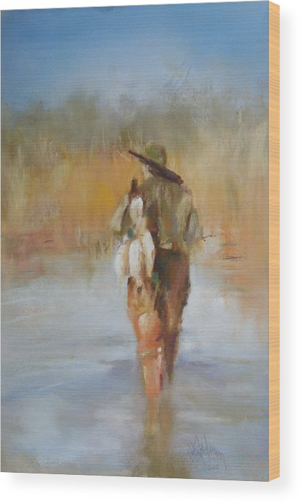 Duck Wood Print featuring the painting The Duck Hunter by Debbie Anderson