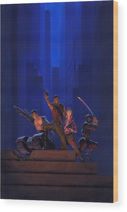 Space Wood Print featuring the painting The Eliminators by Richard Hescox