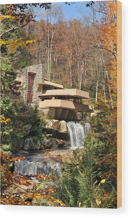 Simplicity Wood Print featuring the photograph The Fallingwater by Edwin Verin